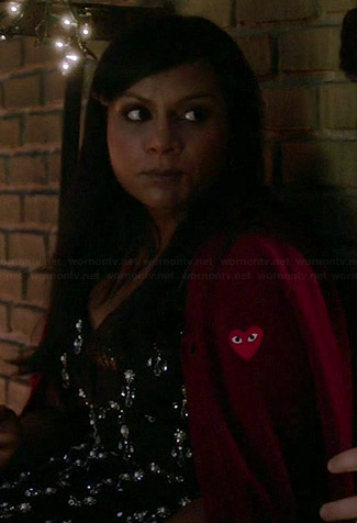 Mindy's burgundy heart cardigan on The Mindy Project