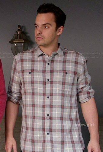Nick's grey and red plaid shirt on New Girl