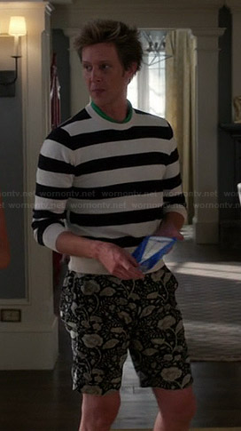 Nolan's floral shorts and black and white striped sweater on Revenge