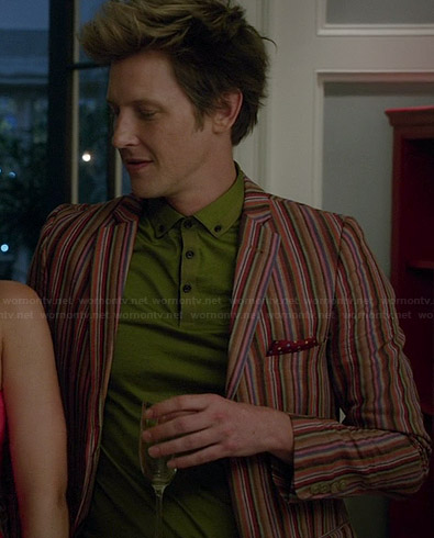 Nolan's green polo shirt and striped blazer on Revenge
