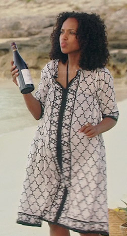Olivia's black and white geometric print beach coverup dress on Scandal