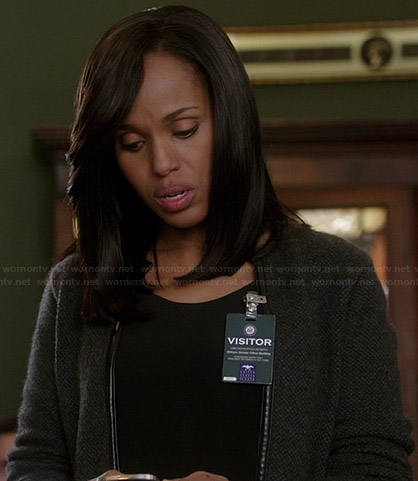 Olivia's grey leather trimmed cardigan on Scandal