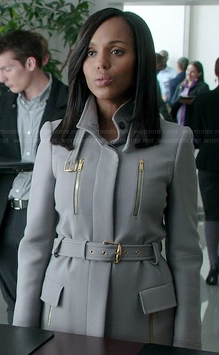 Olivia's grey belted coat with front zips on Scandal