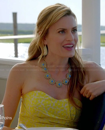 Paige's yellow floral strapless dress on Royal Pains