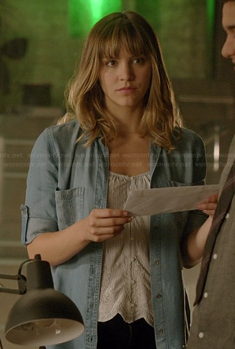 Paige's scalloped trim top and denim shirt on Scorpion