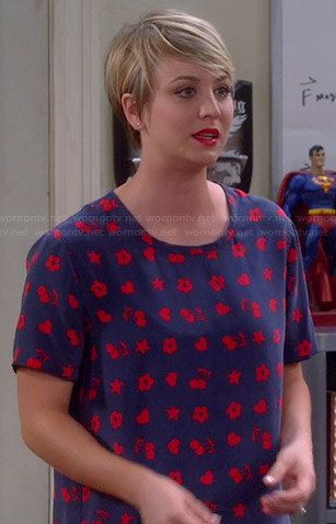 Penny's blue and red heart, cherry and flower print top on The Big Bang Theory