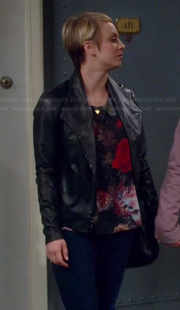 Penny's floral top and black leather jacket on The Big Bang Theory