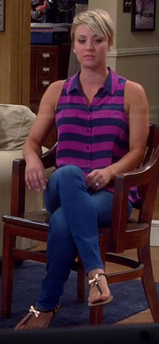 Penny's pink and navy striped sleeveless shirt on The Big Bang Theory