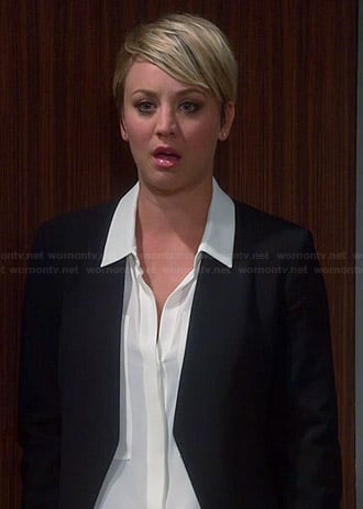 Penny's white shirt with large pockets and black open front blazer on The Big Bang Theory