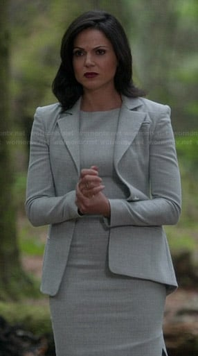 Regina's grey pencil dress and matching blazer on Once Upon a Time