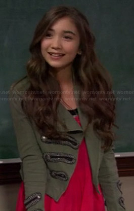 Riley's red handkerchief hem dress and green military jacket on Girl Meets World
