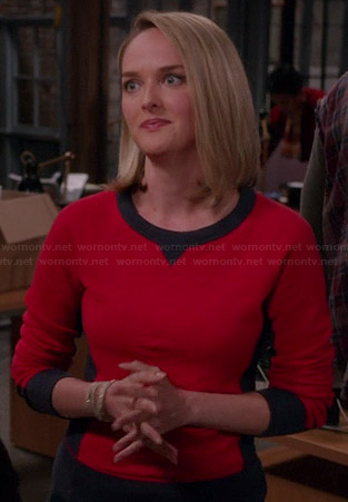 Robyn's red and black colorblock sweatshirt on The Good Wife
