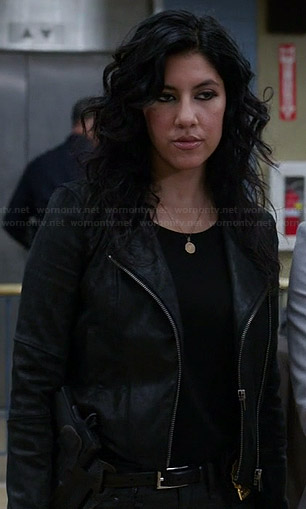 Rosa's black double-zip leather jacket on Brooklyn Nine-Nine