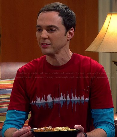 Sheldon's red soundwave graphic tee on The Big Bang Theory