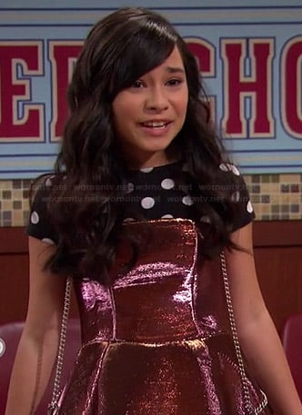 Smackle's metallic pink strapless dress and polka dot top on Girl Meets World