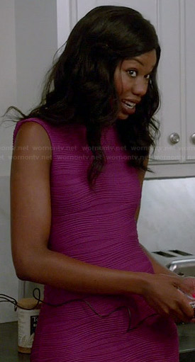 Tamra's purple wave textured dress on The Mindy Project