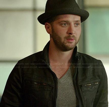 Toby's black zip pocket denim jacket on Scorpion
