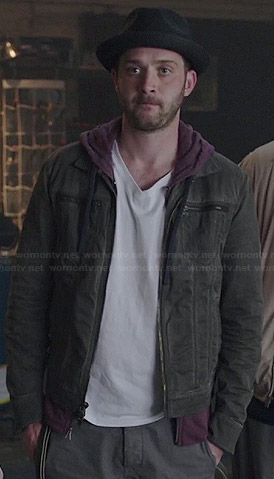 Toby's grey denim zip pocket jacket on Scorpion