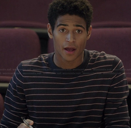 Wes's navy striped sweater on How to Get Away with Murder