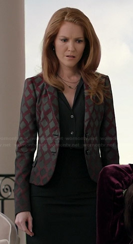 Abby's burgundy diamond print blazer on Scandal
