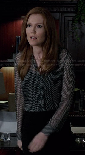 Abby's sheer printed blouse on Scandal