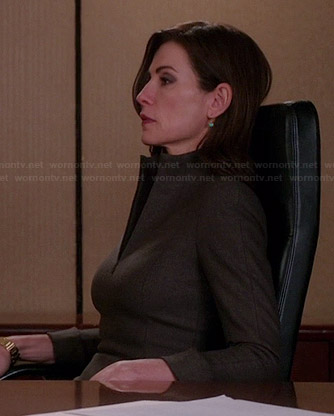 Alicia's brown zip front dress on The Good Wife
