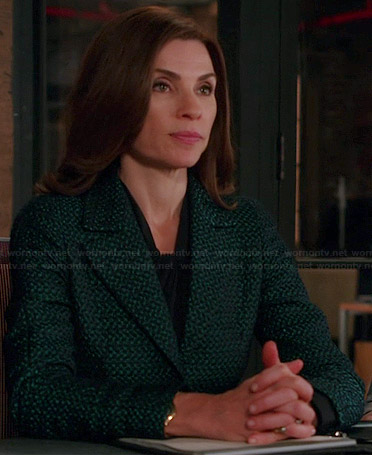 Alicia's green tweed blazer on The Good Wife