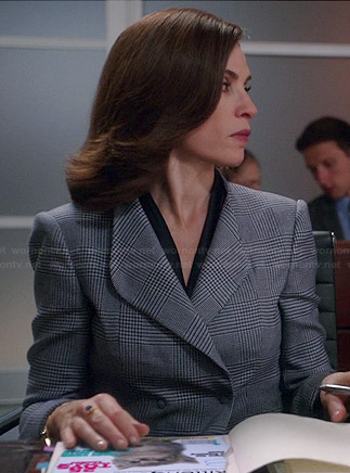 Alicia's grey checked double breasted blazer on The Good Wife