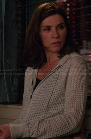 Alicia's grey textured hoodie on The Good Wife