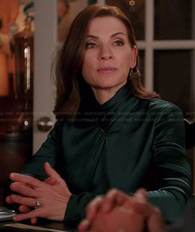 Alicia's teal green satin long sleeved blouse on The Good Wife
