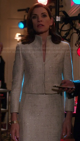 Alicia's white metallic dress and matching jacket on The Good Wife