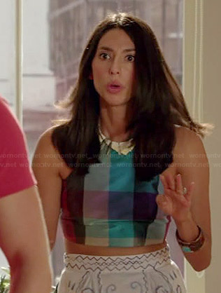 Amy's checked crop top and skirt on Manhattan Love Story