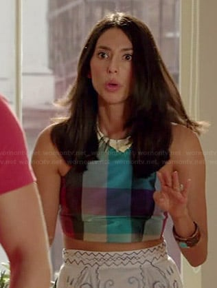 Amy's checked crop top and matching skirt on Manhattan Love Story