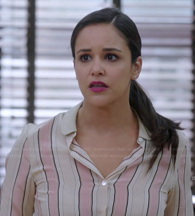 Amy's beige and pink vertical striped blouse on Brooklyn Nine-Nine