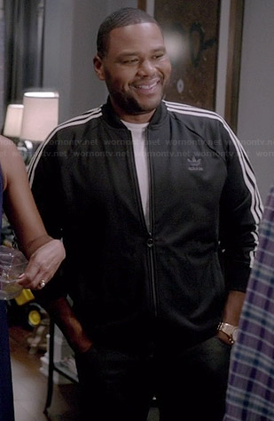 Andre's black Adidas track jacket on Black-ish