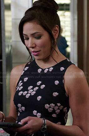 Angela's black and pink printed dress on Bones