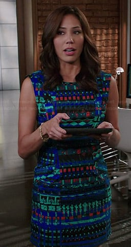 Angela's blue and green abstract printed dress on Bones