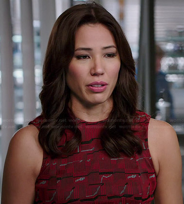 Angela's red printed fit and flare dress on Bones