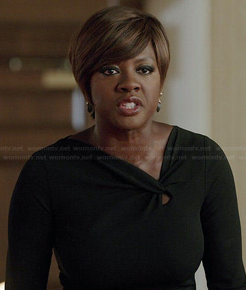 Annalise's black twist neck dress on How to Get Away with Murder