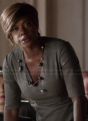 Annalise's checked v-neck dress on How to Get Away with Murder