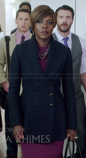 Annalise's navy double breasted jacket with shawl knit collar on How to Get Away with Murder