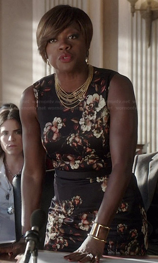 Annalise's black floral sheath dress on How to Get Away with Murder