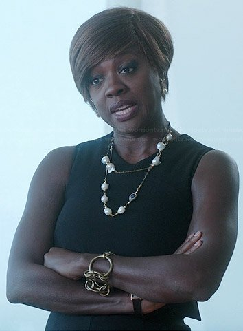 Annalise's black sleeveless layered top dress on How to Get Away with Murder