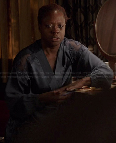 Annalise's blue lace shoulder robe on How to Get Away with Murder