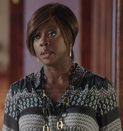 Annalise's green patterned blouse on How to Get Away with Murder