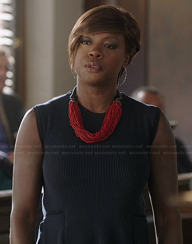 Annalise's navy ribbed peplum dress and red bead necklace on How to Get Away with Murder