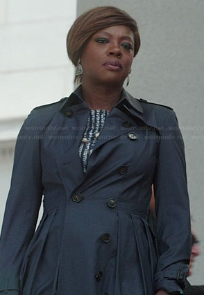 Annalise's navy blue pleated trench coat on How to Get Away with Murder