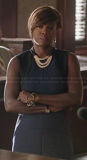 Annalise's navy blue dress with black side panels on How to Get Away with Murder