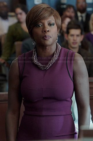 Annalise's purple sleeveless dress with black trim on How to Get Away with Murder