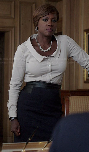 Annalise's white scoopneck collared shirt on How to Get Away with Murder
